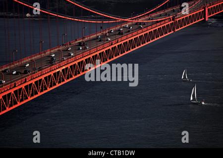 Sailboats sailing under the Golden Gate Bridge, San Francisco, California, USA - Stock Photo