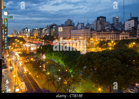 Avenida 9 de Julio at night, Buenos Aires, Argentina - Stock Photo