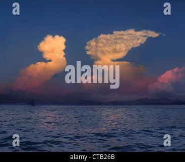 Cumulonimbus clouds in the form of Sphinx over Luzon Island, Philippines, Asia - Stock Photo