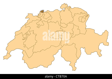 Map of canton Basel Land Switzerland Stock Photo 33807304 Alamy