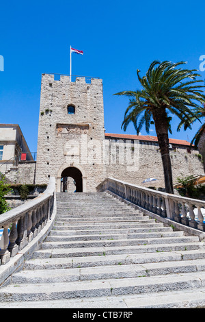 Revelin Tower - main entrance to Korcula's Old Town - Stock Photo