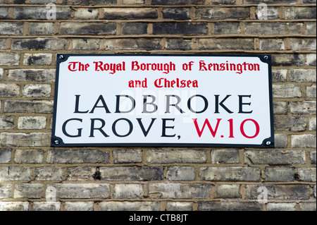 Ladbroke Grove, W.10 street sign - Stock Photo