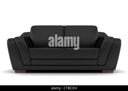 black leather sofa isolated on white background - Stock Photo