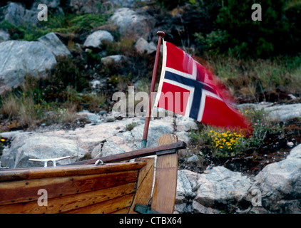 Engesvika, Norway, with Norwegian sail boat - Stock Photo