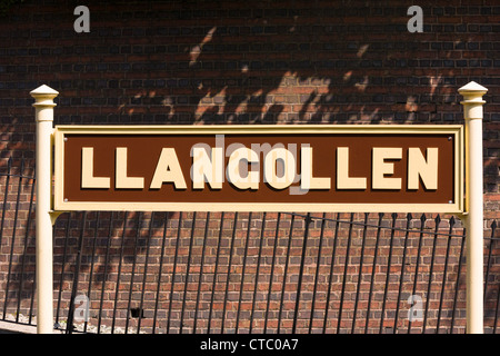 Llangollen railway station sign - Stock Photo