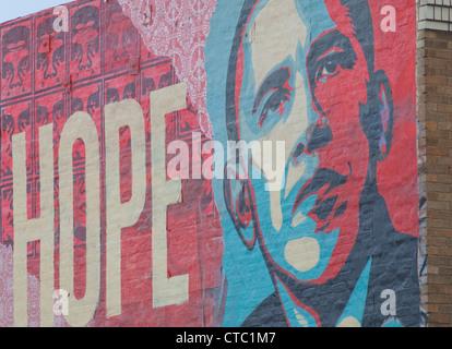 shepard fairey's hope mural on hollywood boulevard in Los Angeles - Stock Photo