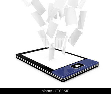 E-book reader with many documents (papers) on white background - Stock Photo