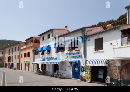 Main street in the harbour of Capraia Island, Tuscan Archipelago, Italy. - Stock Photo