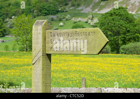 Dales Way Footpath sign near Buckden Upper Wharfedale North Yorkshire England UK United Kingdom GB Great Britain - Stock Photo