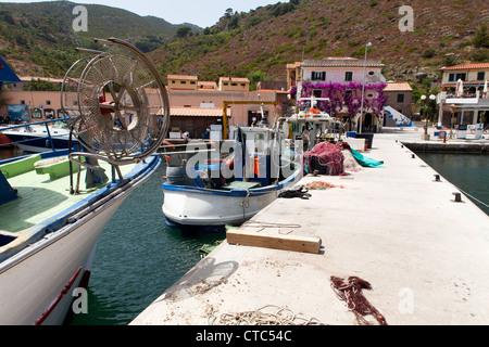 New pier for fishing boats at Capraia Island, Tuscan Archipelago, Italy. - Stock Photo