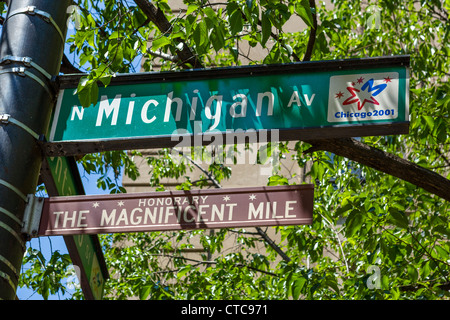 Magnificent Mile street sign, Michigan Avenue, Chicago, Illinois, USA - Stock Photo