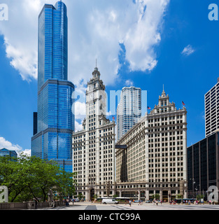The Wrigley Building on N Michigan Avenue with the Trump International Hotel and Tower behind, Chicago, Illinois, - Stock Photo