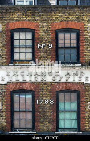 Number nine, Exchange and bullion office 1798, Wardour Street. London, England - Stock Photo