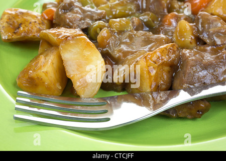 Close view roast beef and vegetable meal - Stock Photo