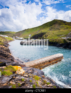 The entrance to the harbour at Boscastle on the North Cornwall Coast - Stock Photo