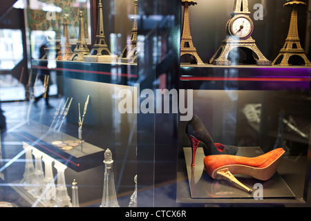 The souvenir shop on the first floor Eiffel Tower in Paris - Stock Photo