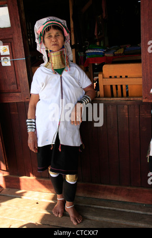Long-necked woman from Padaung Tribe, Inle lake, Shan state, Myanmar, Southeast Asia - Stock Photo
