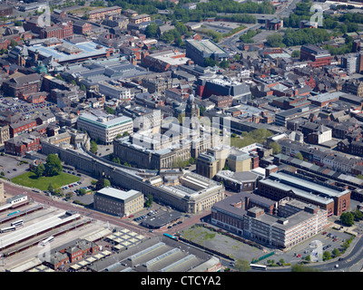 Bolton Town Centre from the air, North West England UK, showing the Town Hall & Civic quarter - Stock Photo