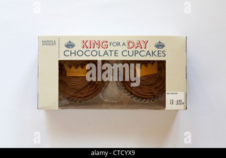box of Marks & Spencer King for a Day chocolate cupcakes isolated on white background - Stock Photo