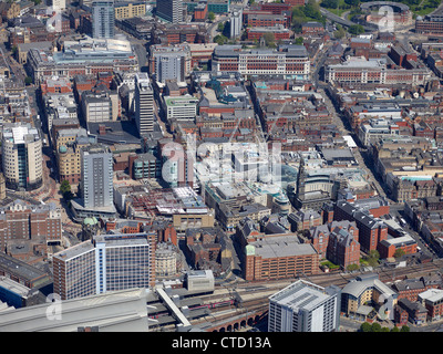 Leeds City Centre from the air, summer 2012. West Yorkshire, Northern England with the new Trinty Leeds shopping - Stock Photo