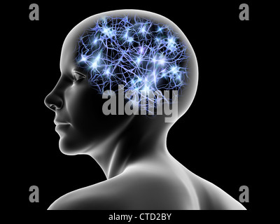 Female head and nerve cells  artwork - Stock Photo