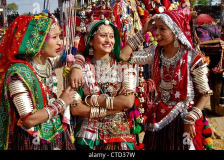 Rajastani woman with Indian traditional ornaments at Pushkar Camel fair,Rajastan,India. - Stock Photo