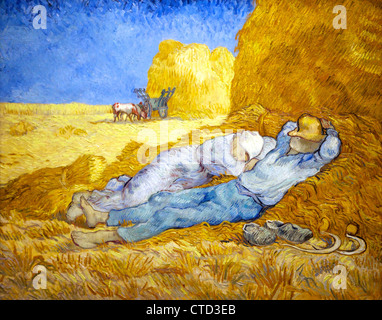 La Meridienne or Noon Rest by Vincent van Gogh, oil on canvas, 1890, Musee D'Orsay Art Gallery and Museum, Paris, - Stock Photo