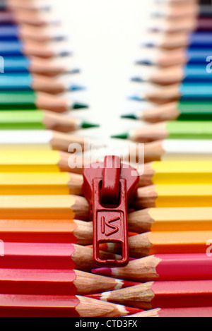 Pencil zip made of pencils in a row - Stock Photo