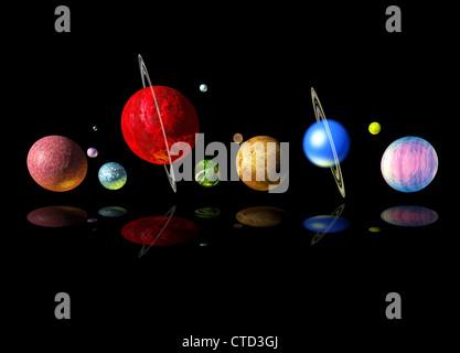 Alien solar system  artwork - Stock Photo