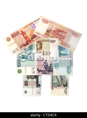 The house is built of Russian rubles of different denomination - Stock Photo