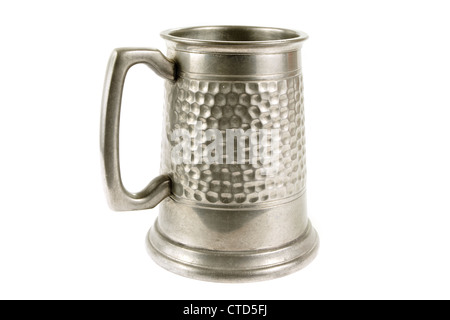 Pewter old tankard on a white background - Stock Photo