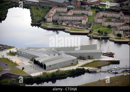 Aerial view of the SV Glenlee berthed alongside the Glasgow Riverside Museum: Scotland's Museum of Transport and - Stock Photo