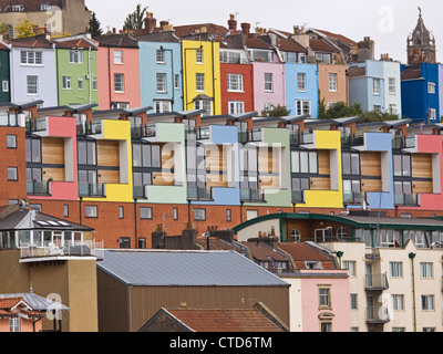 A mix of old and new houses and apartments overlooking Bristol docks in UK - Stock Photo