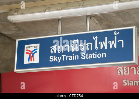 A sky train rail station sign in Bangkok,Thailand - Stock Photo