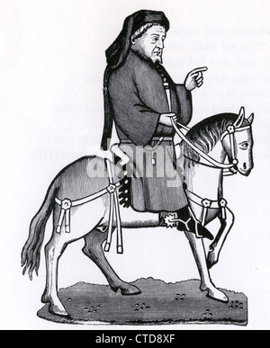 GEOFFREY CHAUCER (c 1343-1400) from an early edition of his Canterbury Tales - Stock Photo