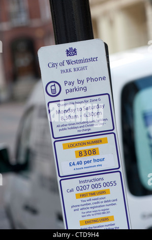 City of Westminster Park Right sign on a lamp post in London, England. - Stock Photo