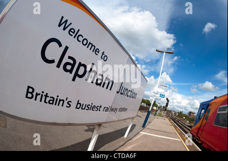 Welcome sign on the platform of Clapham Junction, Britain's busiest railway station, England. - Stock Photo