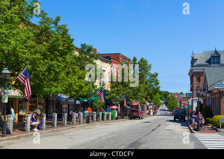 View down Front Street in the historic town of Bath, Maine, USA - Stock Photo