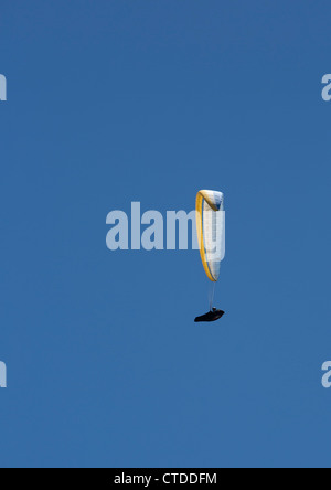 Twin Peaks, California - A paraglider soars above the San Gabriel Valley. - Stock Photo