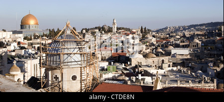 Scenic view of the Old City in Jerusalem from the Austrian Hospice, Israel - Stock Photo
