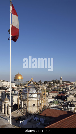 Rooftop view from the Austrian Hospice in the Old City of Jerusalem, Israel - Stock Photo