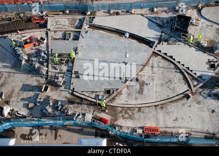 Work by Britannia Construction on Swindon's Railway Station forecourt upgrade project. - Stock Photo