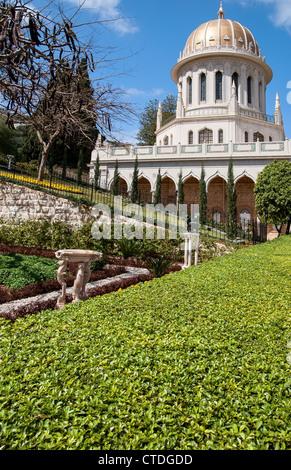 Baha'i Gardens and temple dome, Haifa, Israel - Stock Photo