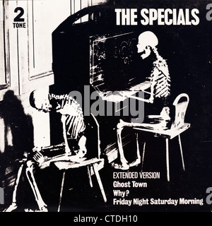 12 inch vinyl record album cover from the ska band The Specials, including the single Ghost Town. Editorial use - Stock Photo