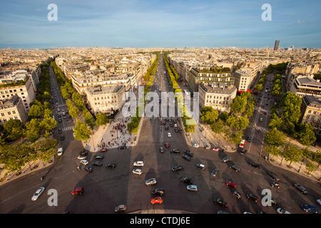 View over Paris from the top of Arc de Triomphe, Paris France