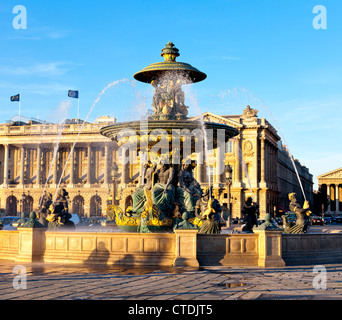 The north fountain, The Fountain of the Rivers, is one of two landmark fountains in The Place de la Concorde in - Stock Photo