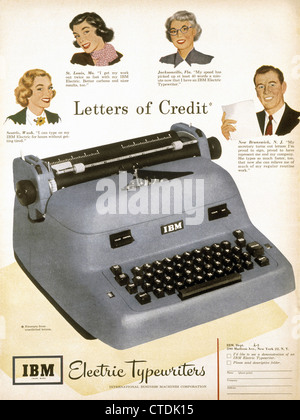 1950s magazine advertisement for IBM electric typewriter. - Stock Photo