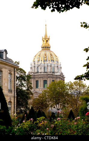 Paris, France: The golden dome of the Dome Church at Les Invalides towers above the gardens at the Rodin Museum. - Stock Photo