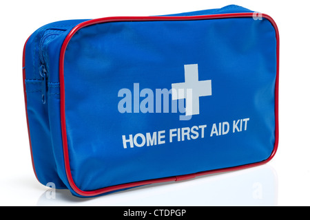 Blue zipped home first aid kit - Stock Photo