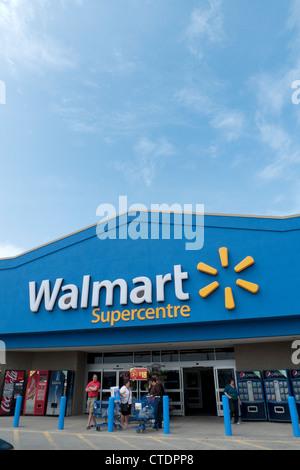 Exterior view of Walmart Supercentre Store Ontario Canada - Stock Photo